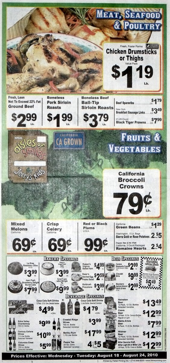 Big Trees Market Weekly Ad for August 18  - August 24, 2010
