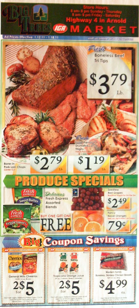 Big Trees Market's Big Weekly Ad for January 12-18, 2011